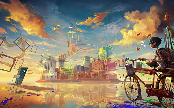 drawing-boy-bicycle-fantasy-city-music-paint-art-hd-wallpaper