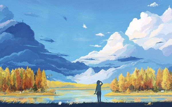 girl-lake-clouds-landscape-drawing-hd-wallpaper